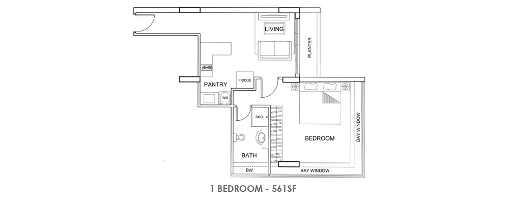 Fortville 1 Bedroom Floorplan