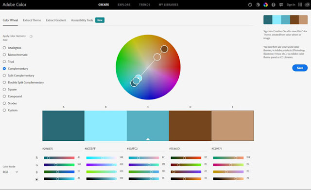 three values of teal and two of brown for an ocean themed color palette from Adobe color wheel