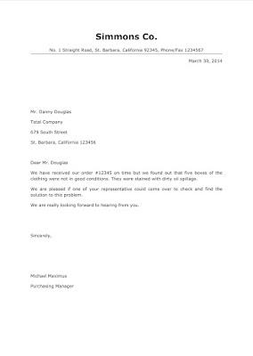 Demand letter for damaged goods
