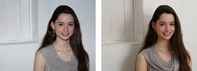 Two images of a model posing, the one on the left is taken with direct camera flash and the one on the right is taken with wall bounce flash from an external flash unit