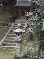 Stone steps and Japanese lantern, Kinkaku-ji Garden - Kyoto, Japan