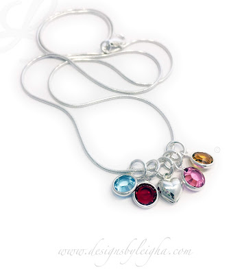 4 Birthstone Charm Necklace with a Puffed Heart Charm on a Snake Necklace