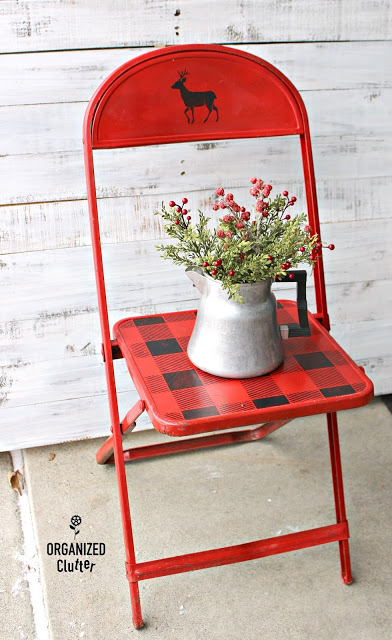 Stenciled Vintage Child's Folding Chair #buffalocheck #oldsignstencils #vintage #foldingchair