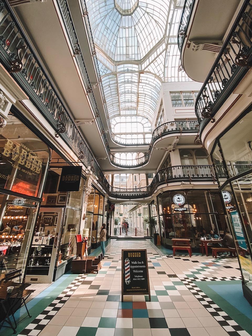 Travel blogger Amanda's OK shops at Barton Arcade in Manchester, UK