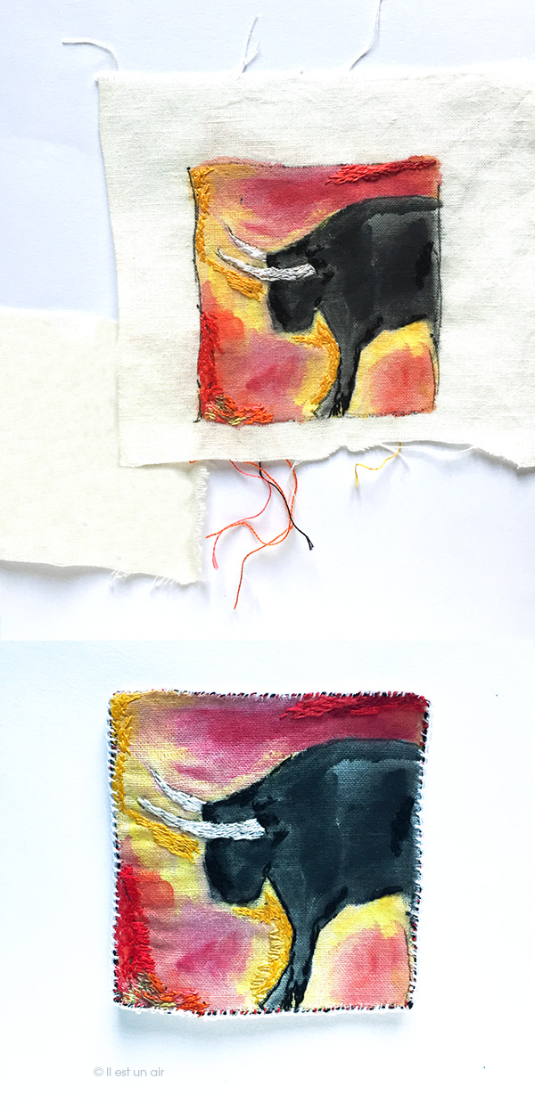 Taureau brodé : avant/après