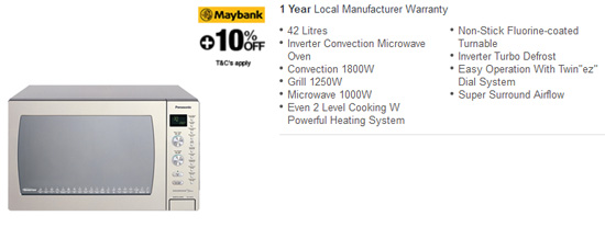 Panasonic 42L Inverter Convection Mirowave Oven