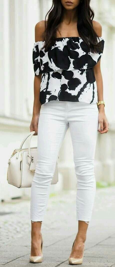 white and black outfit: top + bag + skinny pants