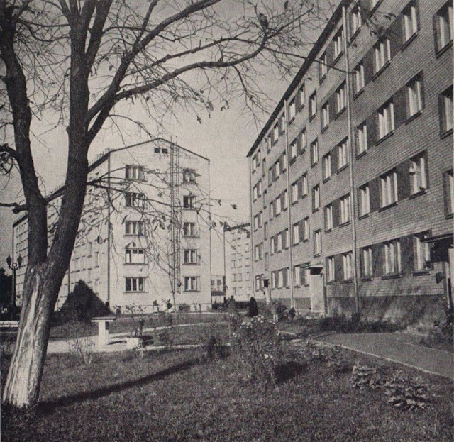 """Начало 1960-х годов. Рига. Югла. Новостройки на улице Тирзас (фото из альбома """"Рига-Юрмала-Сигулда"""", Латвийское государственное издательство, Рига, 1963 год)."""