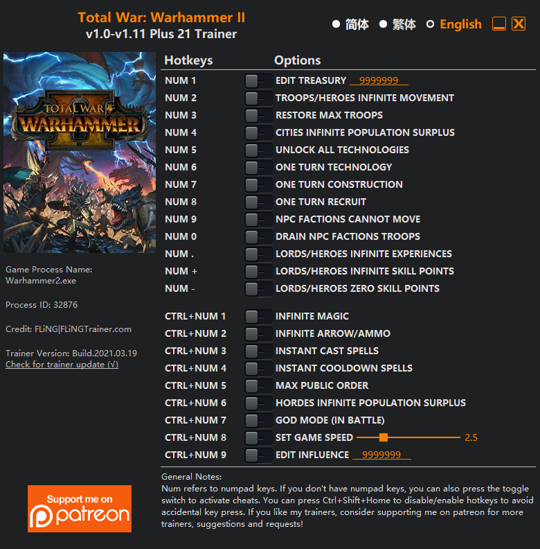 Total War: Warhammer 2: Trainer (+21) [1.0 - 1.11]
