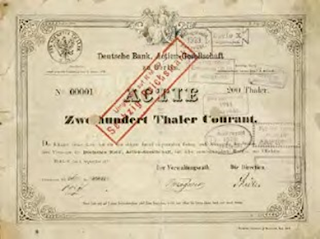 First share certificate of Deutsche Bank