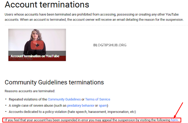 youtube account termination appeal page