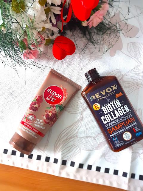 Revox biotin & collagen at kuyruğu şampuan ve Elidor Elvin Levinler saç kremi
