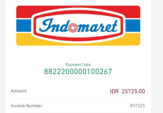 Contoh Payment Code Pembayaran melalui indomaret untuk pembelian domain
