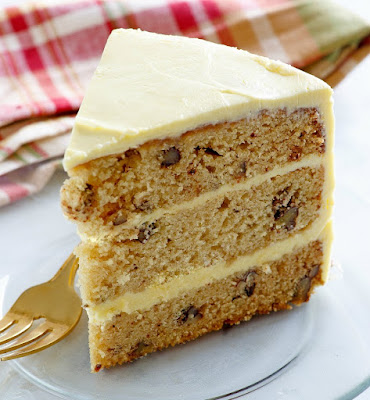 slice of maple pecan layer cake