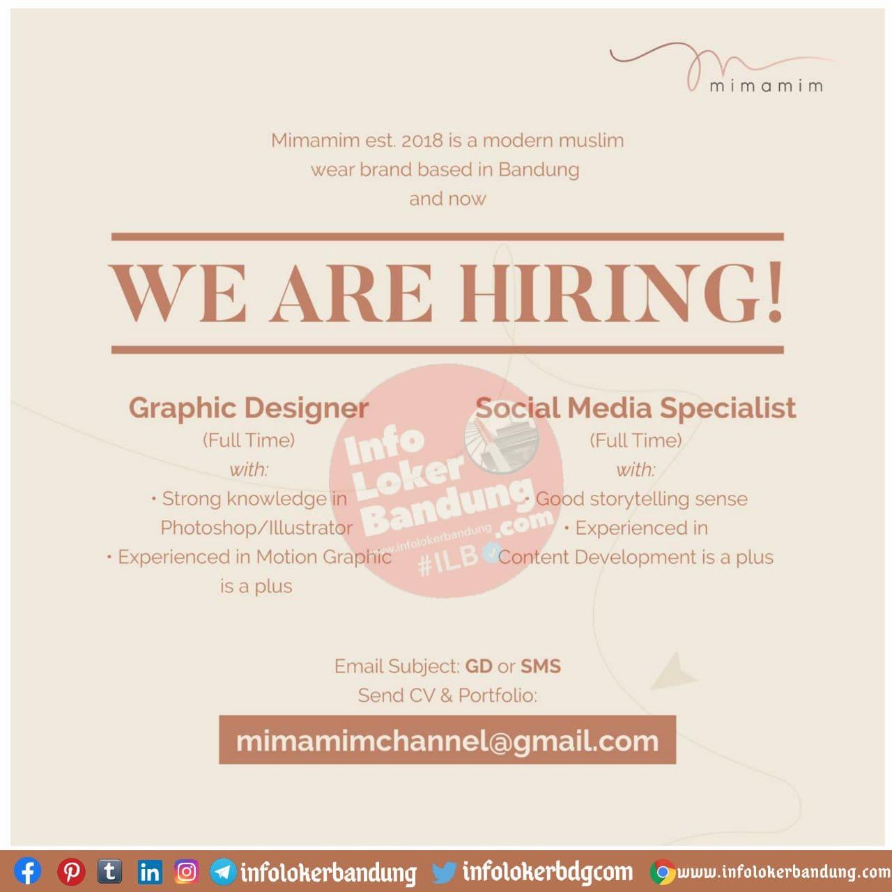 Lowongan Kerja Graphic Designer & Social Media Specialist Mimamim Bandung November 2020