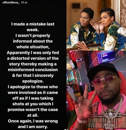 TBoss Apologizes To Davido For Calling Him Out On IG For Arresting The Two Girls