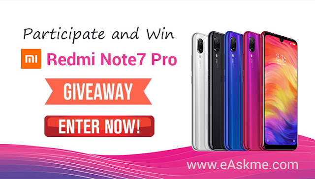 eAskme Giveaway ~ Win Redmi Note 7 Pro Smartphone worth $207: eAskme