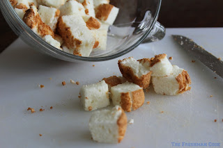 cubes of angel food cake for summer bread pudding