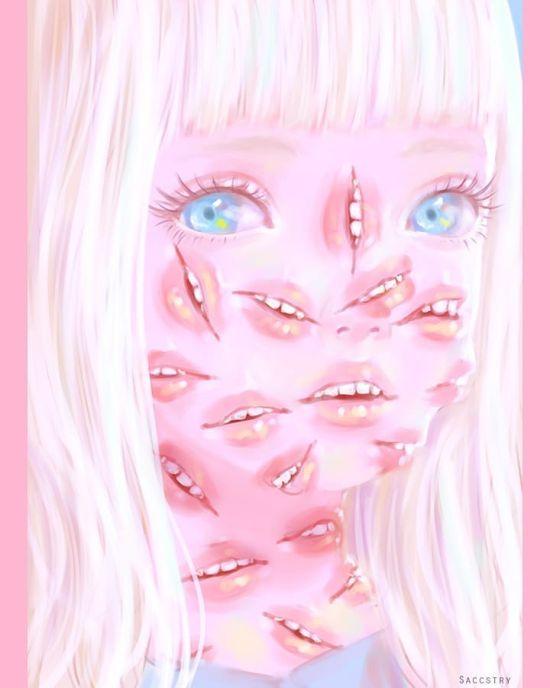 Sara Saccstry instagram arte ilustrações surreais bizarras horror perturbadora tripofobia