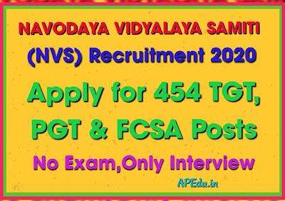 Navodaya Vidyalaya Samiti (NVS) Recruitment 2020 Apply for 454 TGT, PGT & FCSA Posts