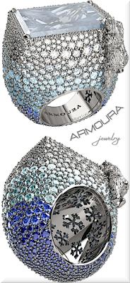 ♦Armoura Polar Bear aquamarine sapphire diamond glacier platinium ring #jewelry #armoura #brilliantluxury