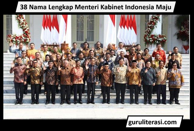 38 Nama Lengkap Menteri Kabinet Indonesia Maju