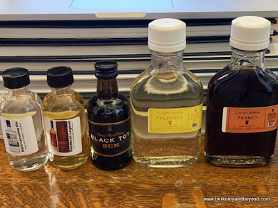 spirits line-up for the cocktail class with The Whisky Shop in San Francisco