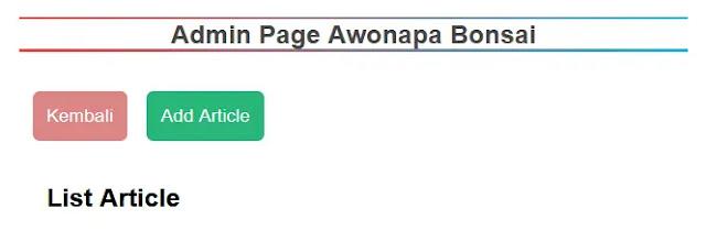 Button Membuat Halaman Add Artikel