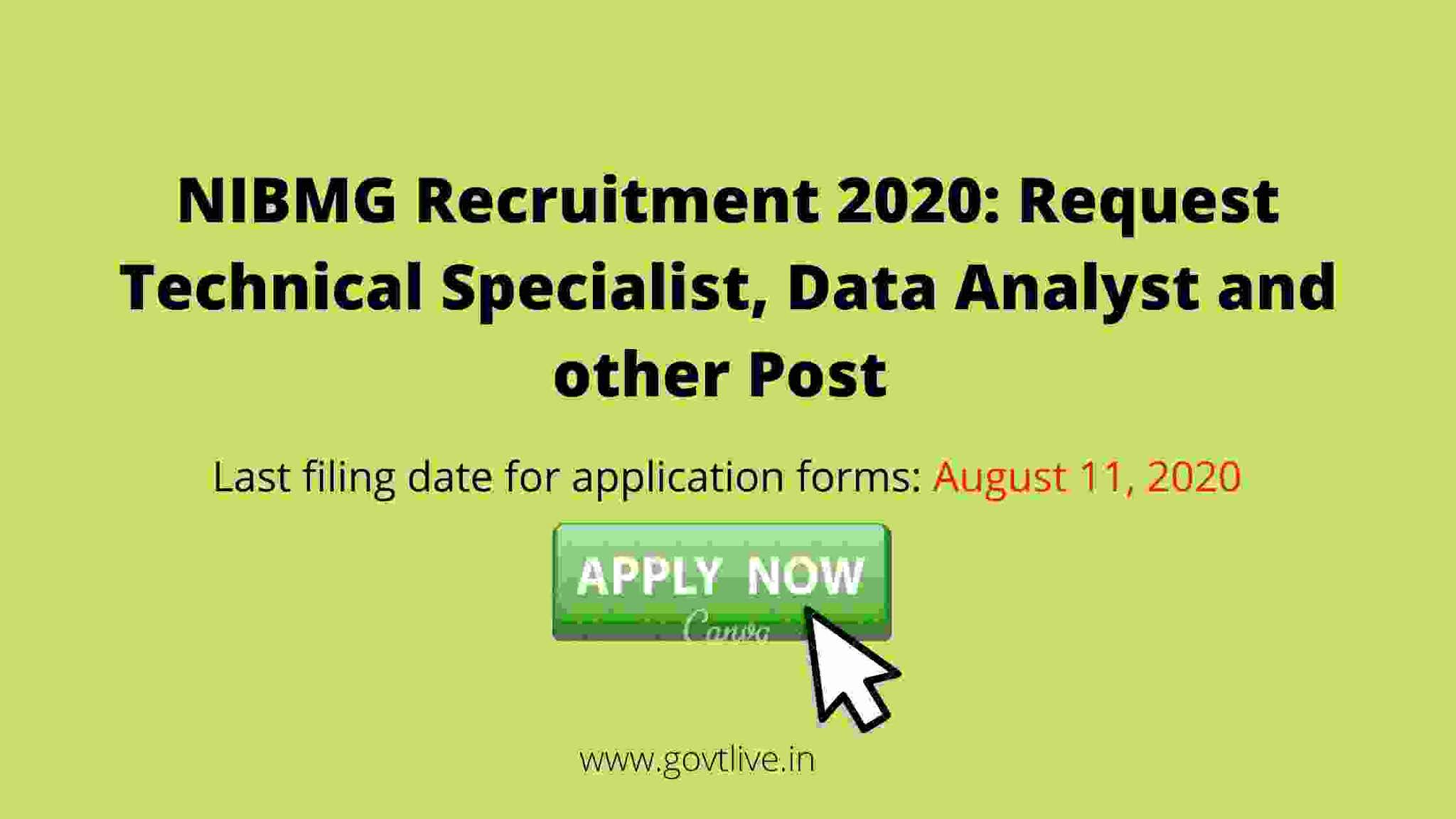 NIBMG Recruitment 2020: Request Technical Specialist, Data Analyst and other publications