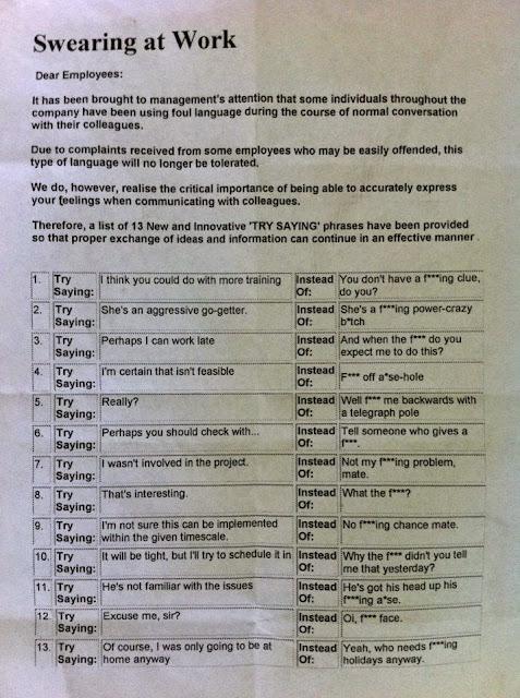 swearing at work