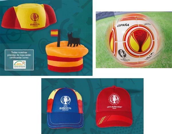 gorra sombrero y balón de fútbol España Eurocopa 2016 Lidl