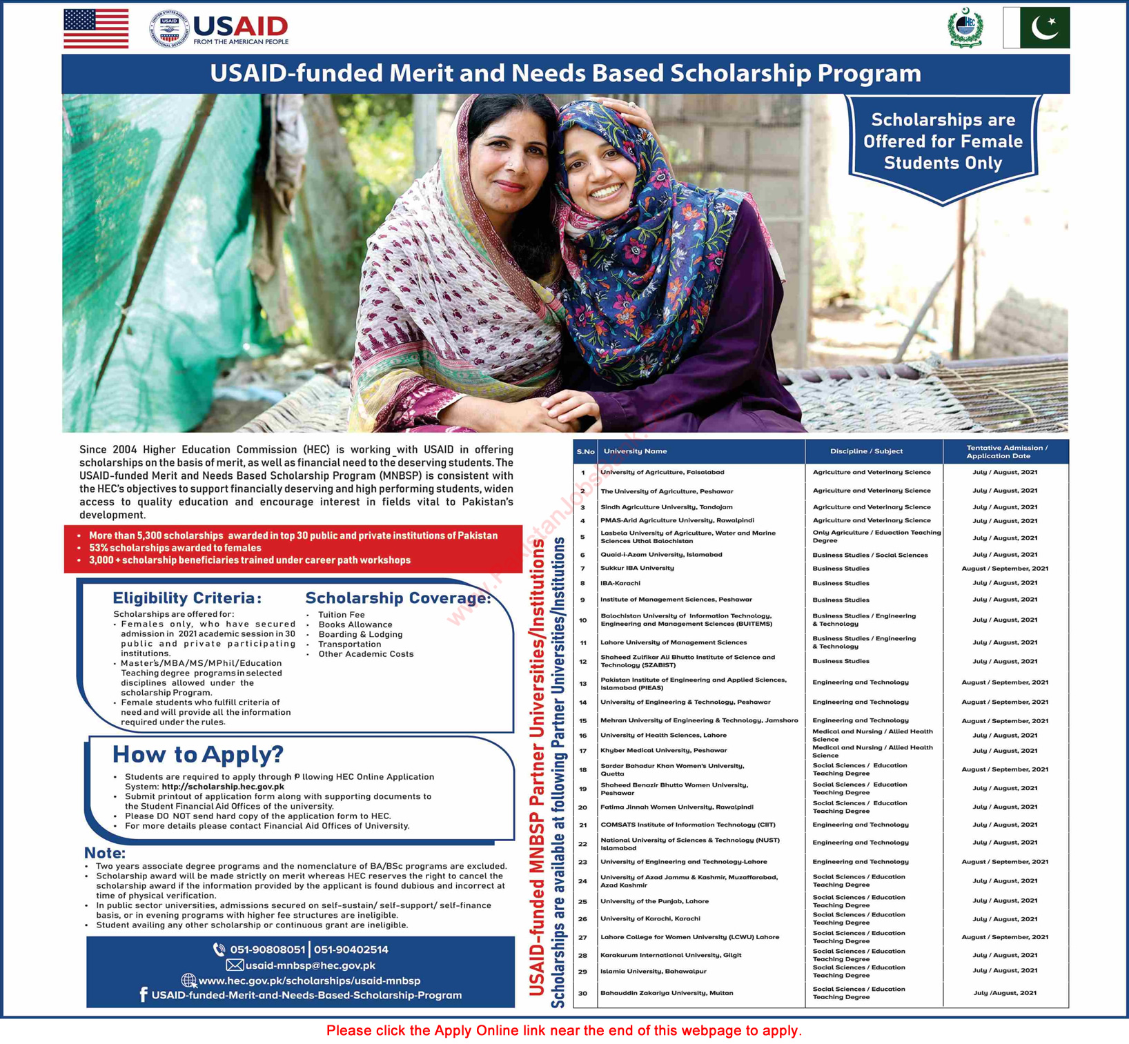 USAID Funded Merit and Needs Based Scholarship Program 2021 in Pakistan