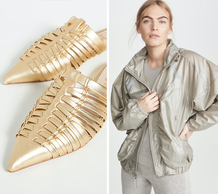 sam edelman gold woven mules, stella mccartney light jacket shopbop