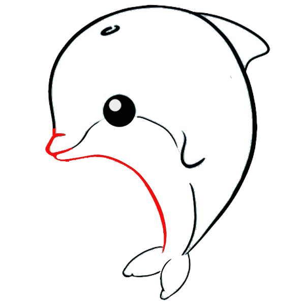 delfin kawaii colorear imprimir dibujo