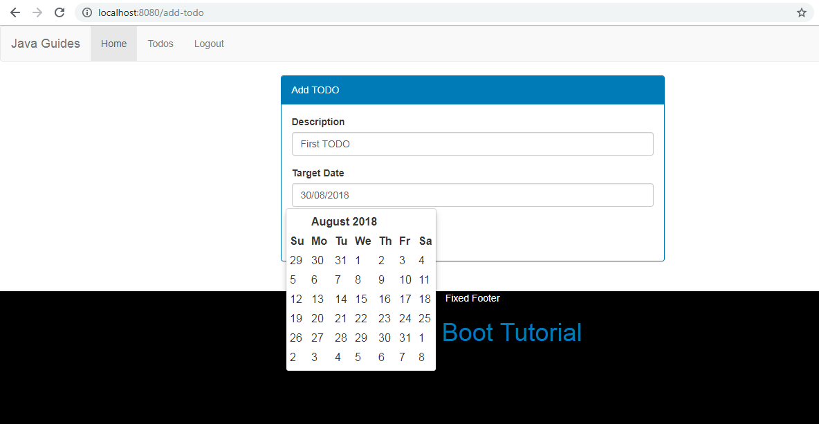 Mini Todo Management Project using Spring Boot + Spring MVC