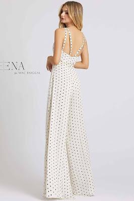 Plunging Neckline Jumpsuit evening dress Ieena For Mac Duggal Polka Dot color back side