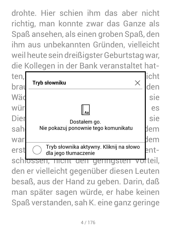 Okno pojawiające się po aktywowaniu trybu słownika wewnątrz e-booka w PocketBook TouchHD2