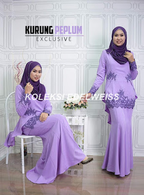 Baju Kurung Moden Fishtail Baju Raya 2017 Warna Soft Purple