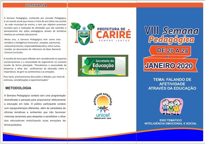 De 20 a 24 de janeiro será realizada a VIII Semana Pedagógica de Cariré; confira aqui, toda a programação do evento
