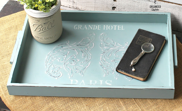 TWICE Upcycled Thrift Shop Serving Tray #chalkpaste #upcycle #servingtray #thriftshopmakeover #3dstencil #redesign #primamarketing