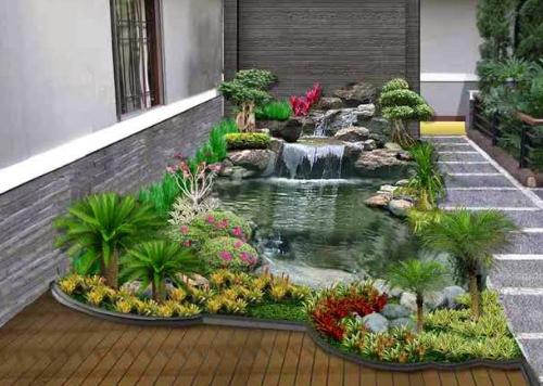 Contoh Kolam Ikan Minimalis Yang Indah Sederhana Di Depan Rumah ...