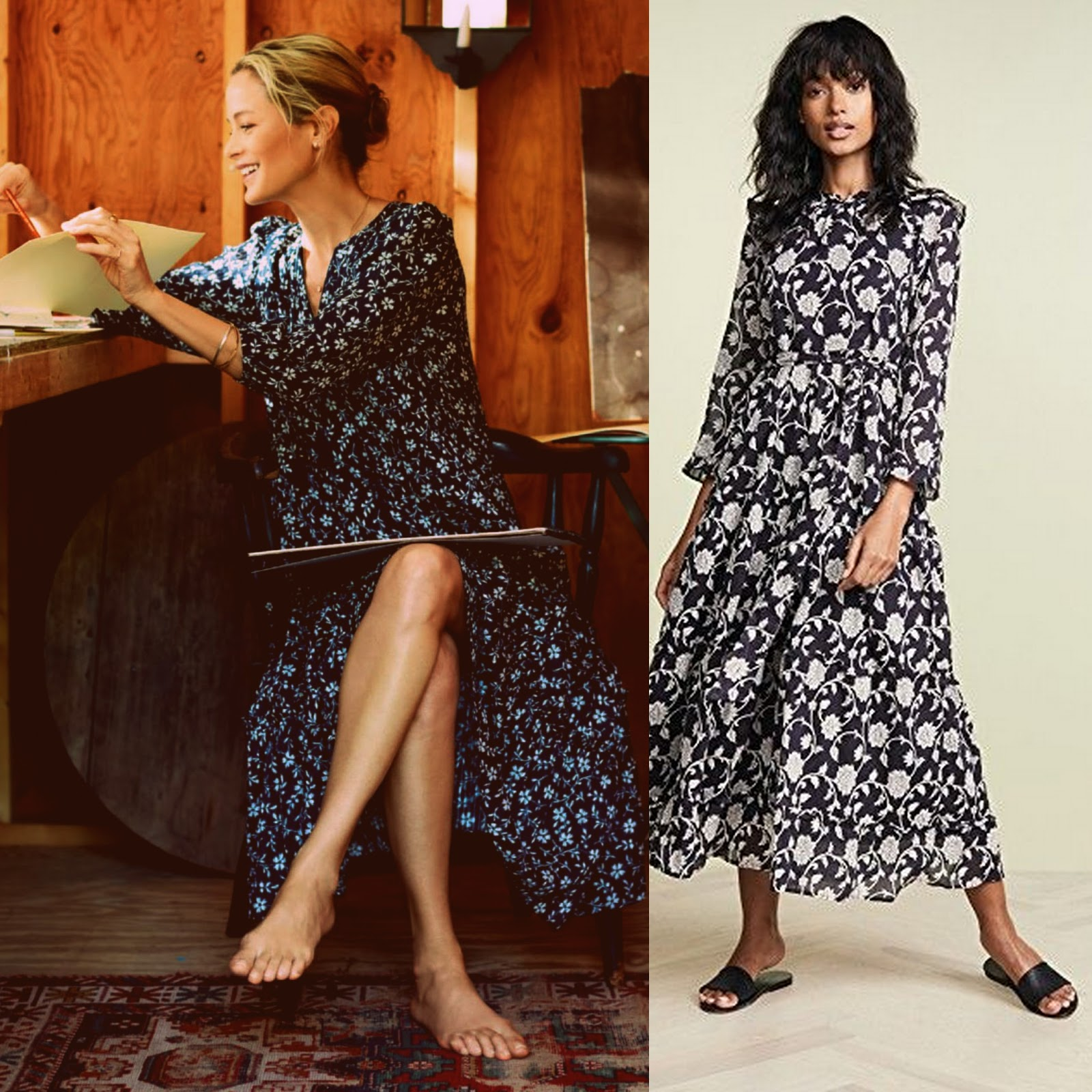 Cute outfit for autumn the black print maxi dress