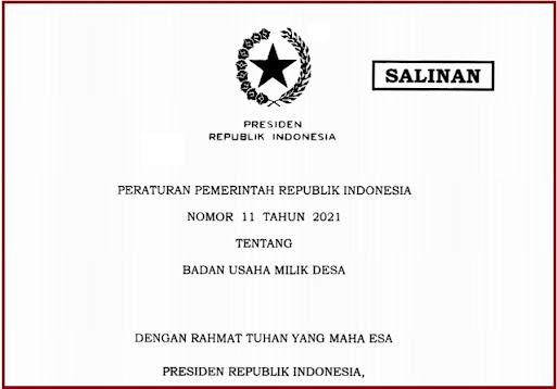 PP Nomor 11 Tahun 2021 Tentang Badan Usaha Milik Desa