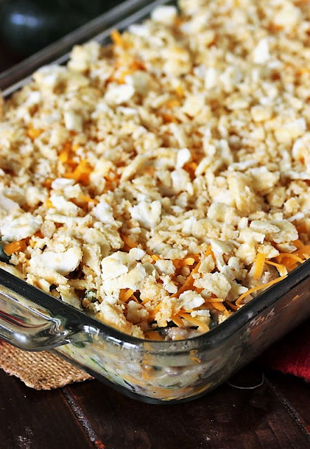 Cheesy Zucchini & Sausage Casserole Topped with Saltine Cracker Crumbs Image