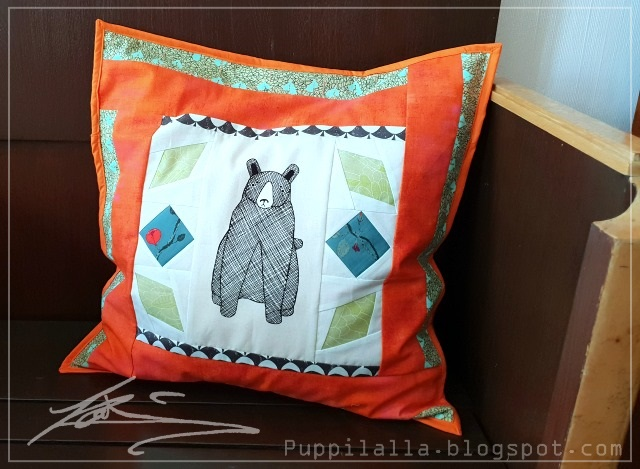 Puppilalla, Patchwork, Pillowcase, Carolyn Friedlander, Thicket Fabric, Gingiber,