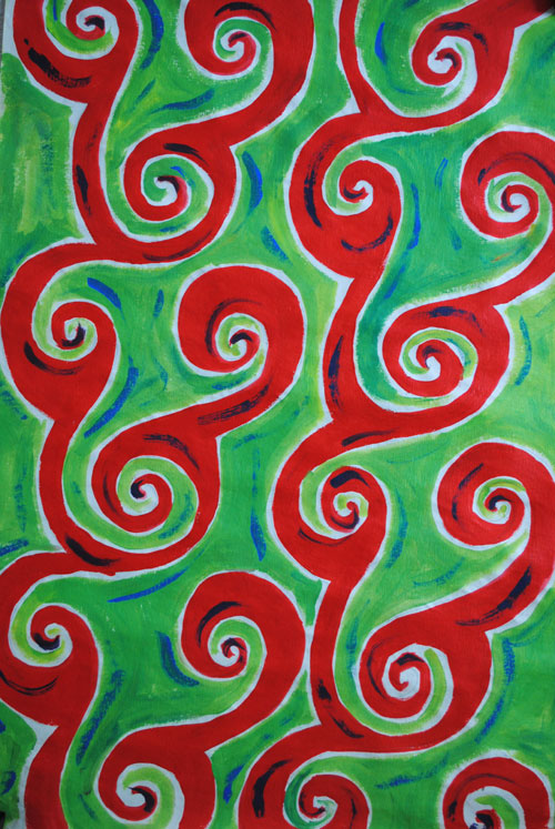 swirls red green