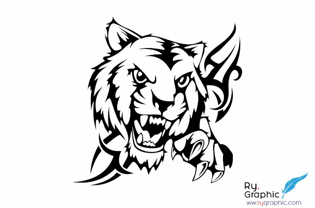Vektor Kepala Macan / Head Tiger Tribal