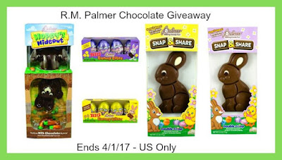 Enter the R.M. Palmer Chocolate Giveaway. Ends 3/31
