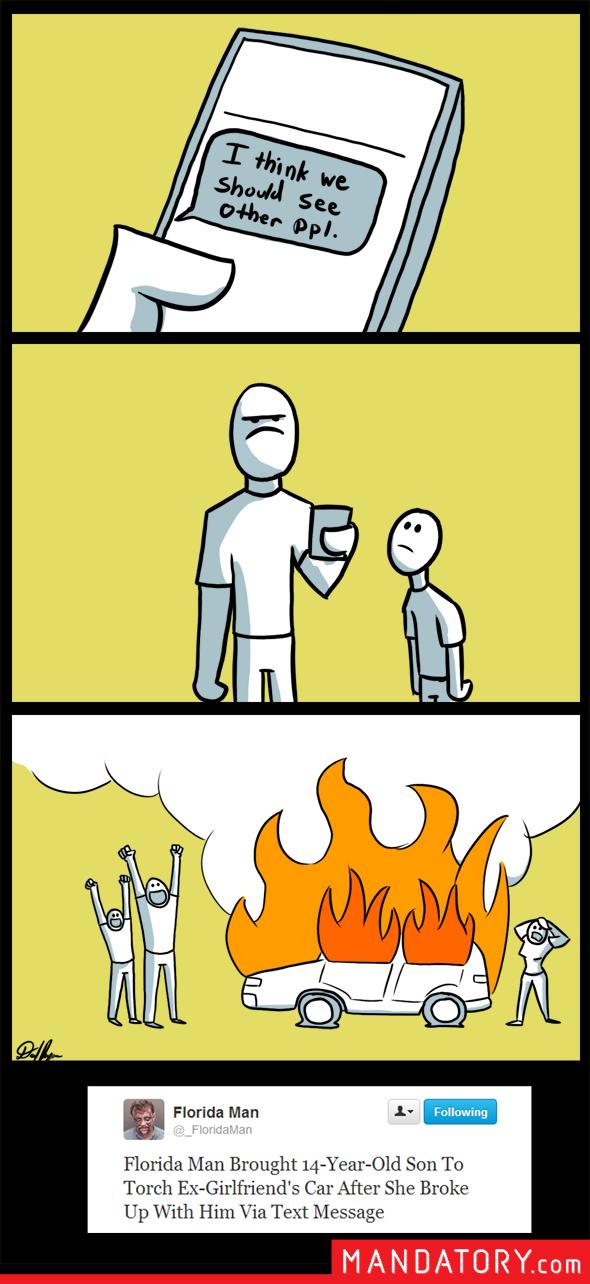 Comic with Florida Man burning a car