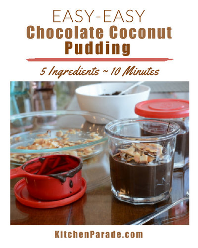 Easy-Easy Chocolate Coconut Pudding ♥ KitchenParade.com. Just five ingredients and ten minutes.